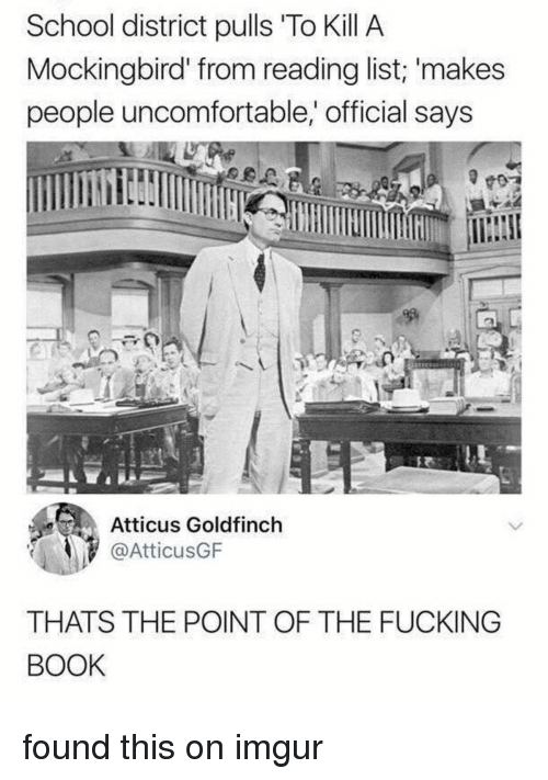 Facepalm, Fucking, and School: School district pulls 'To Kill A  Mockingbird' from reading list; makes  people uncomfortable,' official says  Atticus Goldfinch  @AtticusGF  THATS THE POINT OF THE FUCKING  BOOK found this on imgur