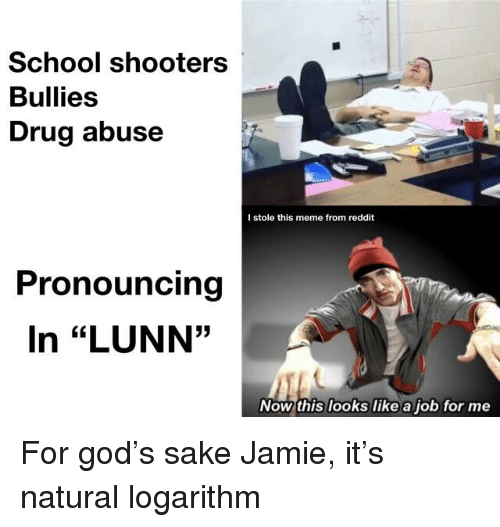 """God, Meme, and Reddit: School shooters  Bullies  Drug abuse  I stole this meme from reddit  Pronouncing  In """"LUNN""""  35  Now this looks like a job for me"""