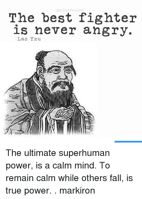 Fall, Memes, and True: @school4success  The best fighter  is never angry.  Lao Yzu The ultimate superhuman power, is a calm mind. To remain calm while others fall, is true power. . markiron