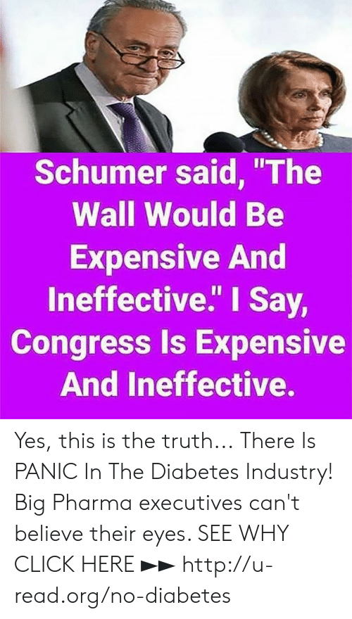 "Click, Memes, and Diabetes: Schumer said, ""The  Wall Would Be  Expensive And  lneffective."" I Say,  Congress Is Expensive  And Ineffective. Yes, this is the truth...  There Is PANIC In The Diabetes Industry! Big Pharma executives can't believe their eyes. SEE WHY CLICK HERE ►► http://u-read.org/no-diabetes"