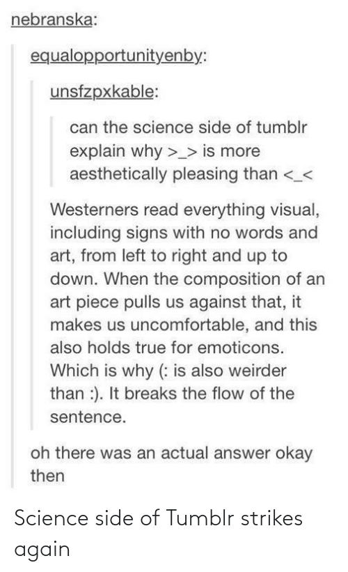 side: Science side of Tumblr strikes again