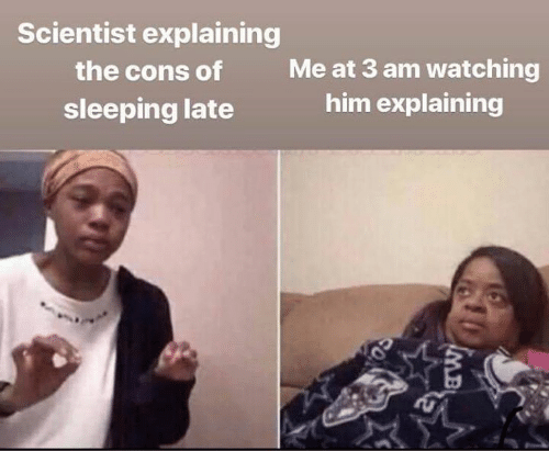 imb: Scientist explaining  Me at 3 am watching  him explaining  the cons of  sleeping late  IMB