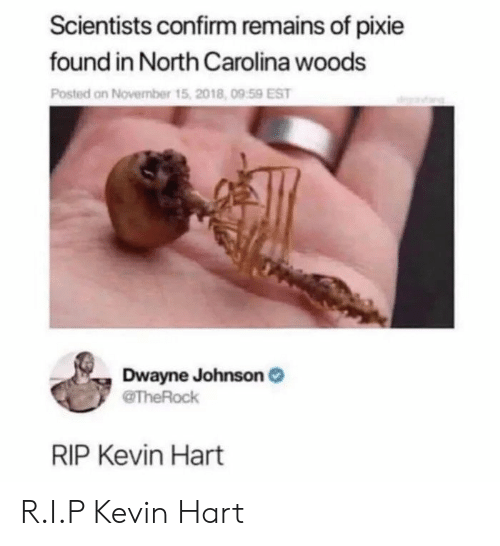 North Carolina: Scientists confirm remains of pixie  found in North Carolina woods  Posted on November t  Dwayne Johnson  RIP Kevin Hart R.I.P Kevin Hart