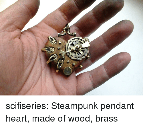 Tumblr, Blog, and Heart: scifiseries:  Steampunk pendant heart, made of wood, brass