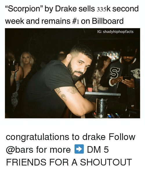 "Billboard, Drake, and Friends: ""Scorpion"" by Drake sells 335k second  week and remains #1 on Billboard  02  IG: shadyhiphopfacts  Sy congratulations to drake Follow @bars for more ➡️ DM 5 FRIENDS FOR A SHOUTOUT"