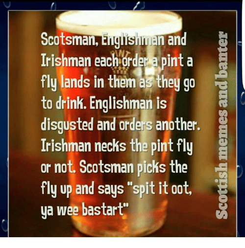 "Ooting: Scotsman,  E  an  Irishman AN  a pint a  each order fly lands in them as they go  to drink. Englishman is  R  disgusted and orders another.  Irishman necks the pint fly  or not. Scotsman picks the  fly up and says ""spit it oot,  ya wee bastart"""