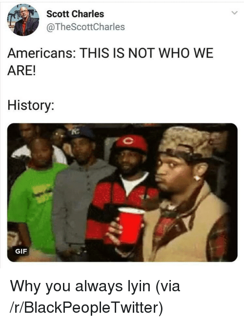 Lyin: Scott Charles  @TheScottCharles  Americans: THIS IS NOT WHO WE  ARE!  History  GIF Why you always lyin (via /r/BlackPeopleTwitter)
