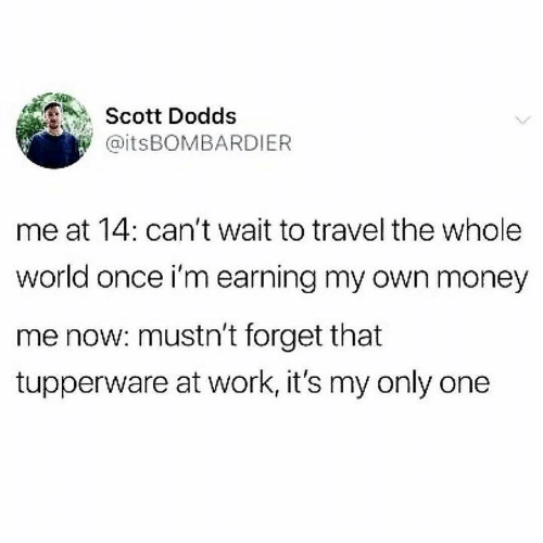 Earning: Scott Dodds  @itsBOMBARDIER  me at 14: can't wait to travel the whole  world once i'm earning my own money  me now: mustn't forget that  tupperware at work, it's my only one
