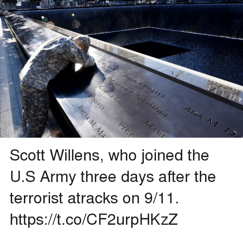The Terrorist: Scott Willens, who joined the U.S Army three days after the terrorist atracks on 9/11. https://t.co/CF2urpHKzZ