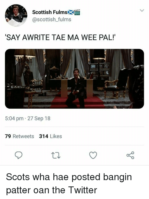 Scottish: Scottish Fulmsk  @scottish_fulms  SAY AWRITE TAE MA WEE PAL!  5:04 pm 27 Sep 18  79 Retweets 314 Likes Scots wha hae posted bangin patter oan the Twitter