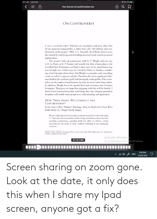 ipad: Screen sharing on zoom gone. Look at the date, it only does this when I share my Ipad screen, anyone got a fix?