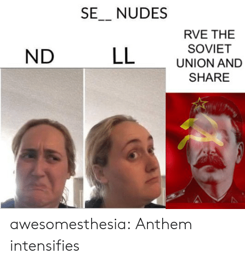 Nudes, Tumblr, and Blog: SE_ NUDES  RVE THE  SOVIET  LL  ND  UNION AND  SHARE awesomesthesia:  Anthem intensifies