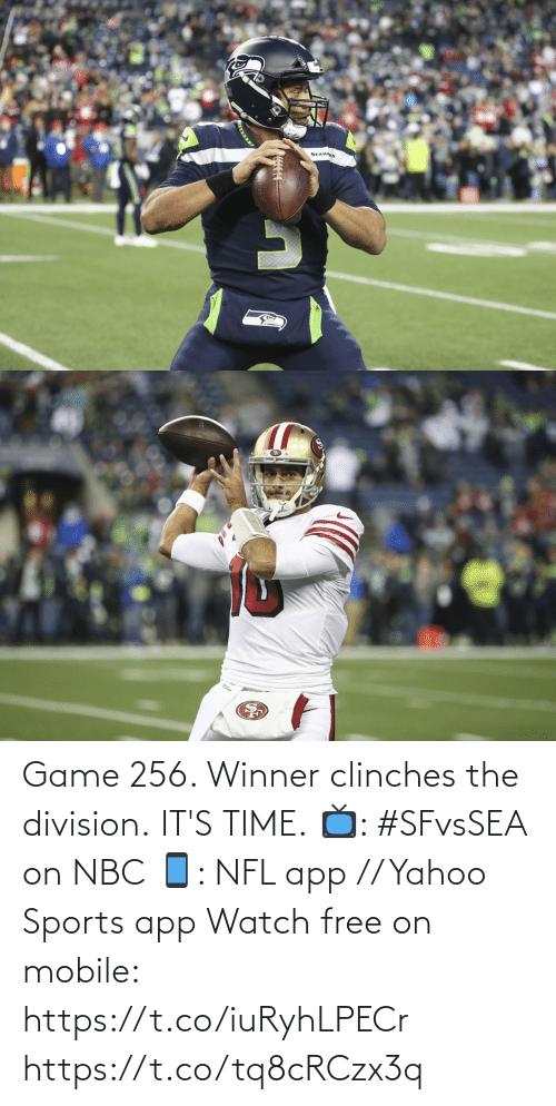 division: SEAHAKS Game 256. Winner clinches the division.  IT'S TIME.  📺: #SFvsSEA on NBC 📱: NFL app // Yahoo Sports app Watch free on mobile: https://t.co/iuRyhLPECr https://t.co/tq8cRCzx3q