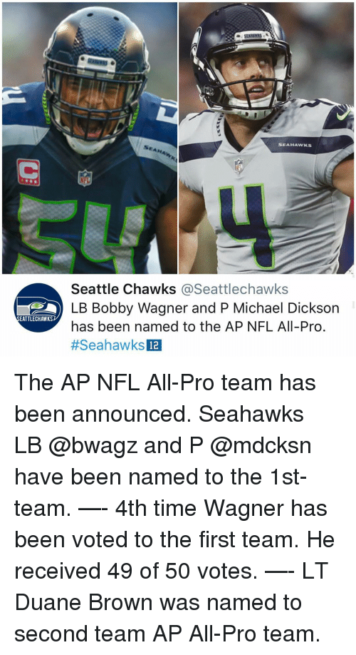 Memes, Nfl, and Michael: SEAHAWKS  Seattle Chawks @Seattlechawks  LB Bobby Wagner and P Michael Dickson  has been named to the AP NFL All-Pro  #SeahawksE  EATTLECHAWKS  12 The AP NFL All-Pro team has been announced. Seahawks LB @bwagz and P @mdcksn have been named to the 1st-team. —- 4th time Wagner has been voted to the first team. He received 49 of 50 votes. —- LT Duane Brown was named to second team AP All-Pro team.