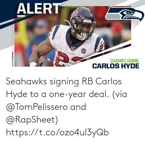 year: Seahawks signing RB Carlos Hyde to a one-year deal. (via @TomPelissero and @RapSheet) https://t.co/ozo4ul3yQb