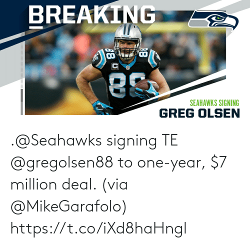 One Year: .@Seahawks signing TE @gregolsen88 to one-year, $7 million deal. (via @MikeGarafolo) https://t.co/iXd8haHngl