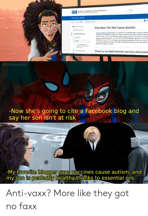 Facebook, Autism, and Blog: Sean  DO  Vaccine Safety  Vaccines Do Not Cause Autism  aren Cat  There is no link between vaccines and autism  u/Schmedly87  -Now she's going to cite a Facebook blog and  say her son isn't at risk  My favorite bloggersays vaccines cause autism, and  my son is perfectly healthy thanks to essential oils Anti-vaxx? More like they got no faxx