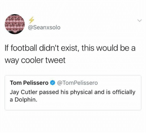 Dolphinately: @Seanxsolo  If football didn't exist, this would be a  way cooler tweet  Tom Pelissero e》 @TomPelissero  Jay Cutler passed his physical and is officially  a Dolphin.