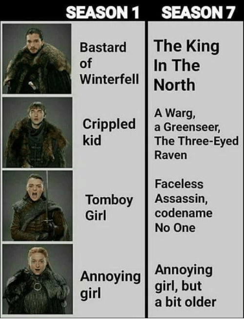 Game of Thrones, Girl, and Raven: SEASON1 SEASON 7  Bastard The King  of  Winterfell | North  In The  A Warg,  Crippled a Greenseer  kid  The Three-Eyed  Raven  Faceless  codename  Tomboy Assassin,  Girl  No One  Annoying  Annoying girl, but  girl  a bit older