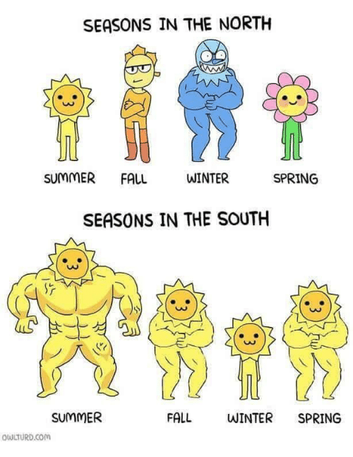 in-the-north: SEASONS IN THE NORTH  SUMMER FALL  WINTER  SPRING  SEASONS IN THE SOUTH  0O  SUMMER  FALL  WINTER SPRING  QULTURD.Com