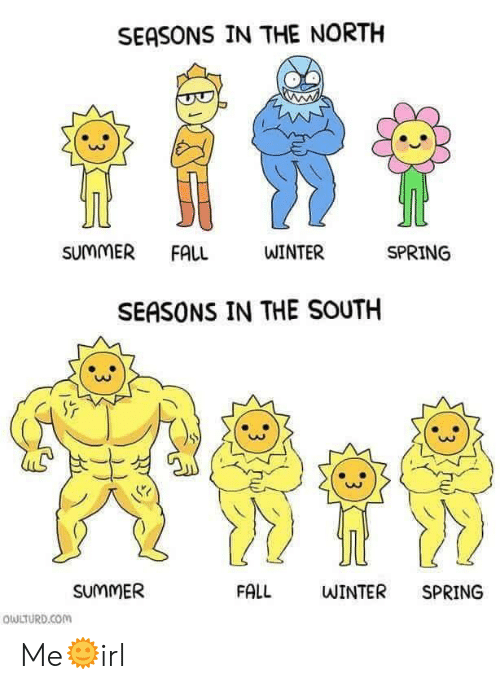in-the-north: SEASONS IN THE NORTH  SUMMER FALL  WINTER  SPRING  SEASONS IN THE SOUTH  0O  SUMMER  FALL  WINTER SPRING  QULTURD.Com Me🌞irl