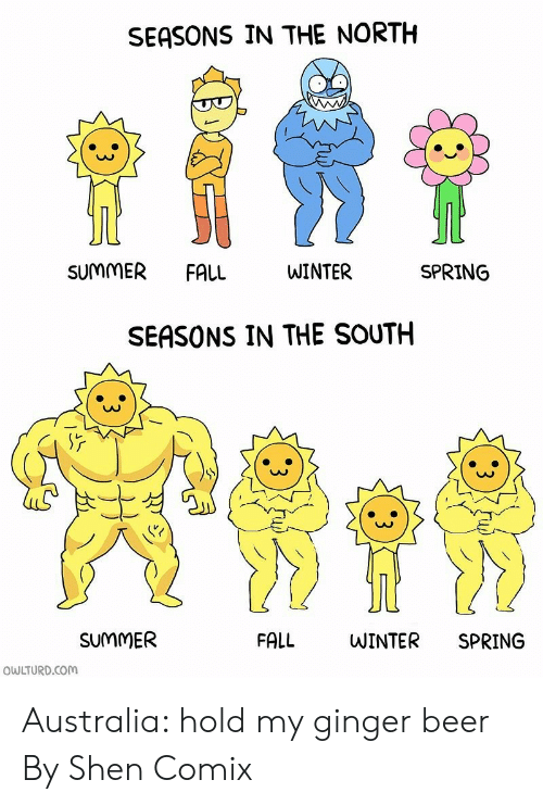 Owlturd: SEASONS IN THE NORTH  SUMMER  FALL  WINTER  SPRING  SEASONS IN THE SOUTH  SUMMER  FALL  WINTER  SPRING  OWLTURD.COM Australia: hold my ginger beer  By Shen Comix