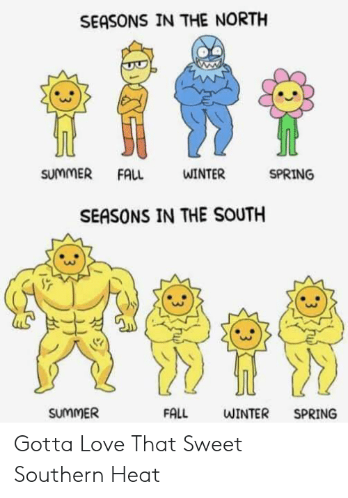 in-the-north: SEASONS IN THE NORTH  SUMMER  SPRING  FALL  WINTER  SEASONS IN THE SOUTH  SUMMER  FALL  WINTER  SPRING  : 3 Gotta Love That Sweet Southern Heat
