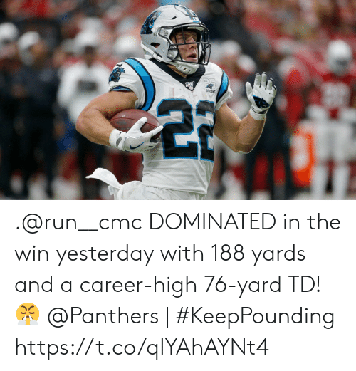 Seasons: SEASONS .@run__cmc DOMINATED in the win yesterday with 188 yards and a career-high 76-yard TD! ?   @Panthers   #KeepPounding https://t.co/qIYAhAYNt4