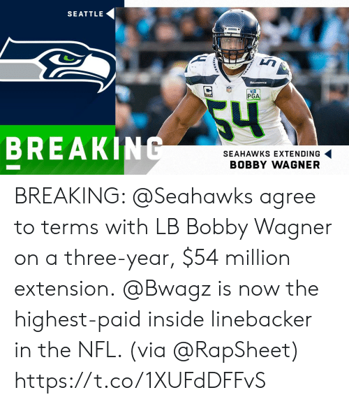 bobby: SEATTLE  ARNKS  SEAHAWKs  PGA  54  BREAKING  SEAHAWKS EXTENDING  BOBBY WAGNER BREAKING: @Seahawks agree to terms with LB Bobby Wagner on a three-year, $54 million extension.  @Bwagz is now the highest-paid inside linebacker in the NFL. (via @RapSheet) https://t.co/1XUFdDFFvS