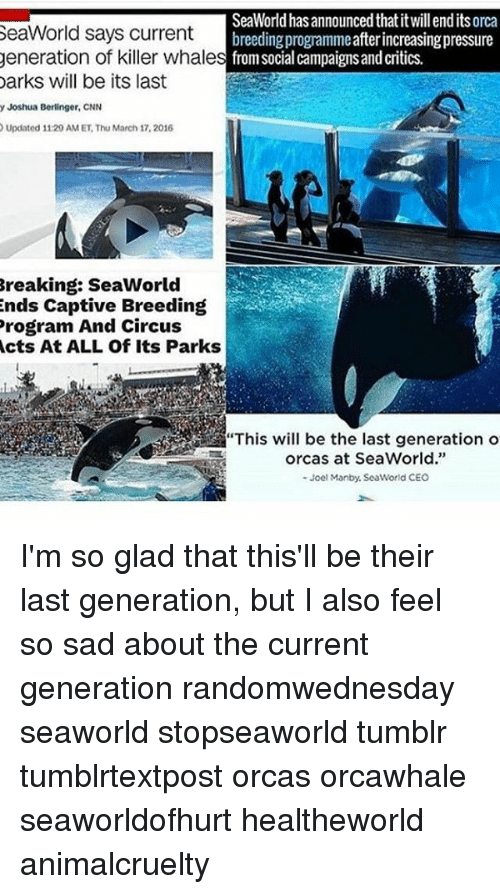 "killer whale: SeaWorld has announced thatitwillendits orca  SeaWorld says current  breeding programmeafterincreasingpressure  generation of killer whale  s from social campaigns and critics.  Darks will be its last  y Joshua Berlinger, CNN  Updated 11:29 AM ET Thu March 17, 2016  Breaking: SeaWorld  ends Captive Breeding  Program And Circus  Acts At ALL Of Its Parks  orcas at SeaWorld.""  Joel Manby, SeaWorld CEO I'm so glad that this'll be their last generation, but I also feel so sad about the current generation randomwednesday seaworld stopseaworld tumblr tumblrtextpost orcas orcawhale seaworldofhurt healtheworld animalcruelty"