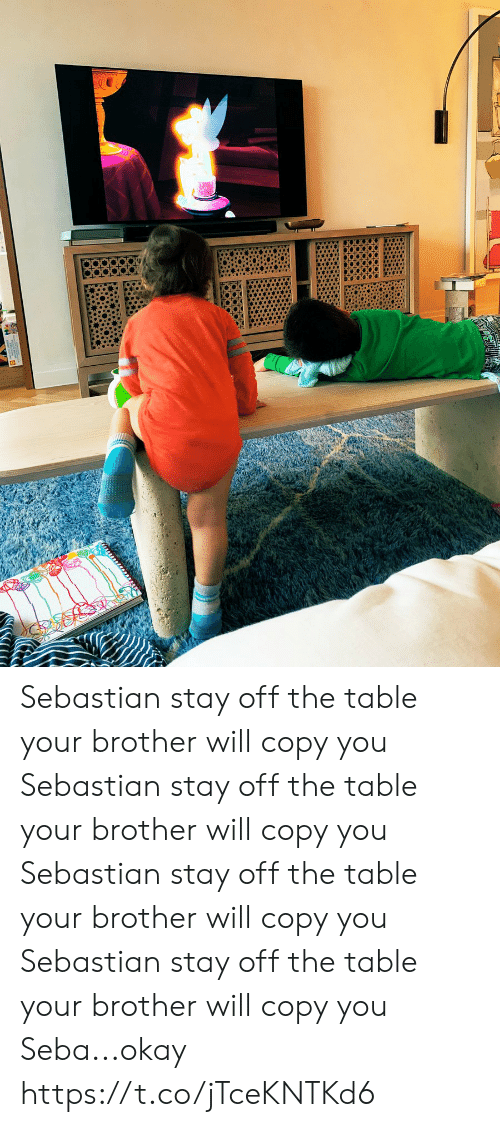copy: Sebastian stay off the table your brother will copy you Sebastian stay off the table your brother will copy you Sebastian stay off the table your brother will copy you Sebastian stay off the table your brother will copy you  Seba...okay https://t.co/jTceKNTKd6
