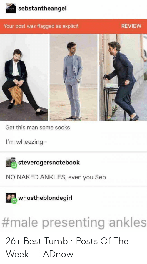 explicit: sebstantheangel  flagged as explicit  Your post was  REVIEW  Get this man some socks  I'm wheezing  steverogersnotebook  NO NAKED ANKLES, even you Seb  whostheblondegirl  #male presenting ankles 26+ Best Tumblr Posts Of The Week - LADnow