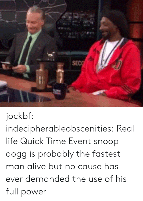 quick time: SEC jockbf: indecipherableobscenities:  Real life Quick Time Event  snoop dogg is probably the fastest man alive but no cause has ever demanded the use of his full power