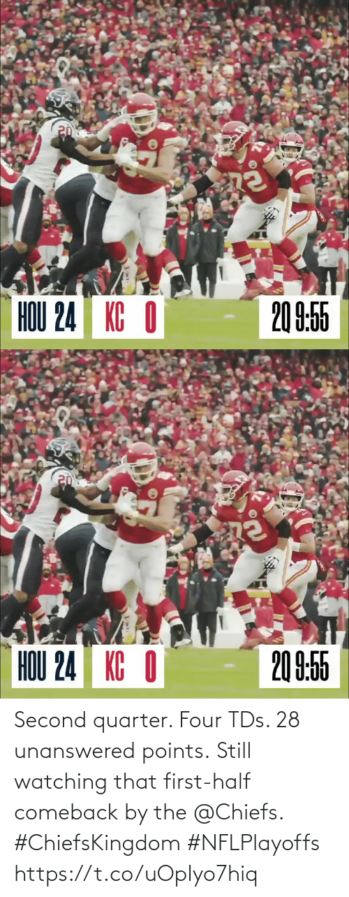Points: Second quarter. Four TDs. 28 unanswered points.  Still watching that first-half comeback by the @Chiefs. #ChiefsKingdom #NFLPlayoffs https://t.co/uOpIyo7hiq