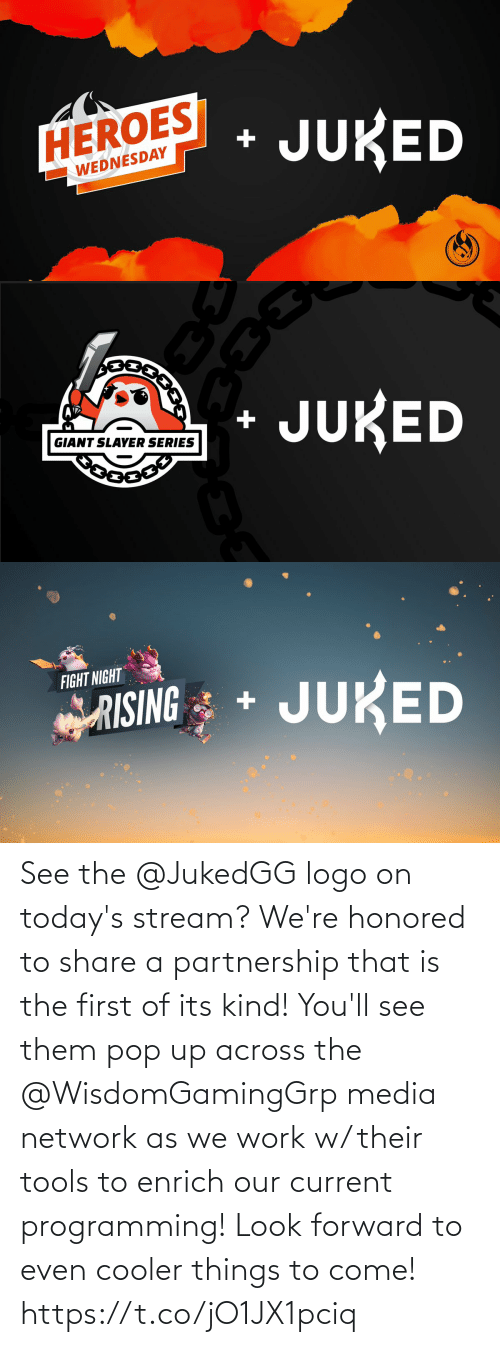 Todays: See the @JukedGG logo on today's stream?  We're honored to share a partnership that is the first of its kind! You'll see them pop up across the @WisdomGamingGrp media network as we work w/ their tools to enrich our current programming!  Look forward to even cooler things to come! https://t.co/jO1JX1pciq
