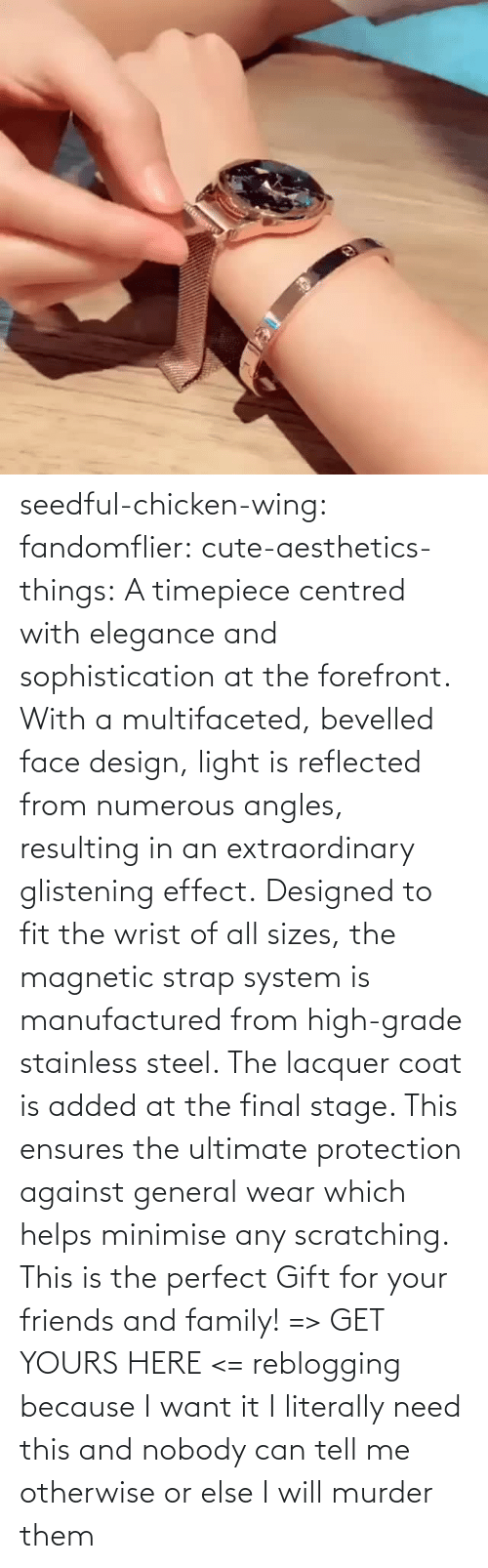 The Perfect: seedful-chicken-wing: fandomflier:  cute-aesthetics-things:   A timepiece centred with elegance and sophistication at the forefront. With a multifaceted, bevelled face design, light is reflected from numerous angles, resulting in an extraordinary glistening effect. Designed to fit the wrist of all sizes, the magnetic strap system is manufactured from high-grade stainless steel. The lacquer coat is added at the final stage. This ensures the ultimate protection against general wear which helps minimise any scratching. This is the perfect Gift for your friends and family! => GET YOURS HERE <=   reblogging because I want it  I literally need this and nobody can tell me otherwise or else I will murder them