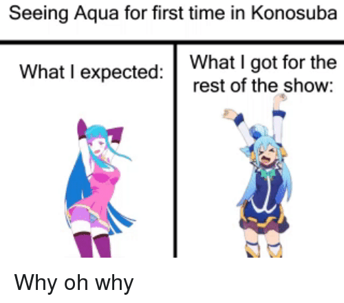 Anime, Time, and Got: Seeing Aqua for first time in Konosuba  What I expected:What I got for the  rest of the show: