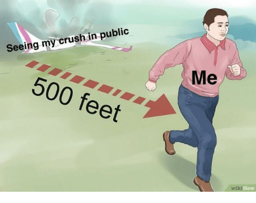 Crush, How, and Feet: Seeing my crush in public  Me  500 feet  How