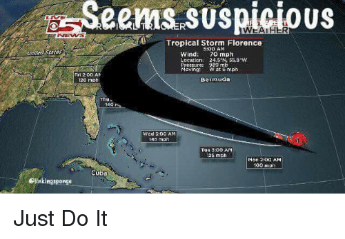 Anaconda, Funny, and Just Do It: Seems  suspicious  Tropical Storm Florence  :00 AM  unieStates  Wind: 70 mph  Location: 245N 55.8w  Pressure: 989 mb  Maving:  W at 6 mph  Fri 2:00 A卜  20 mph  Bermuda  Thu  140  Wed 3:00 AM  145 mph  Tue 3:0D AM  125 mph  Mon 2:0O AM  100 mph  Cuba  Dlinkingsponge Just Do It