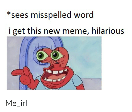 meme hilarious: *sees misspelled word  i get this new meme, hilarious Me_irl
