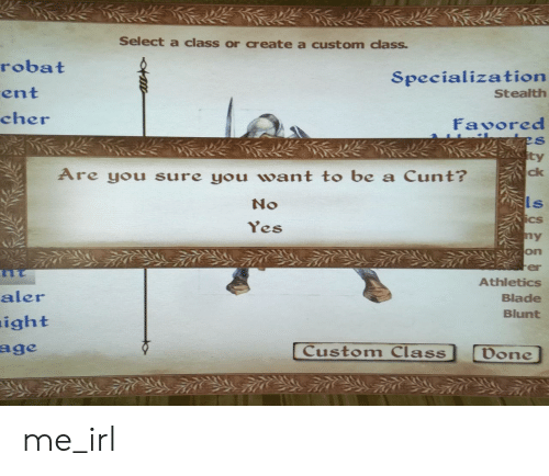 Athletics: Select a class or create a custom class  robat  ent  cher  Specialization  Stealth  Favored  ty  Are you sure you want to be a Cunt?  ck  No  ls  Cs  es  on  er  Athletics  Blade  Blunt  aler  ight  Custom Class  Don me_irl