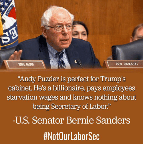 """Memes, 🤖, and Sec: SEN. SANDERS  """"Andy Puzder is perfect for Trump's  cabinet. He's a billionaire, pays employees  starvation wages and knows nothing about  being Secretary of Labor.""""  -U S. Senator Bernie Sanders  #NotOurLabor Sec"""