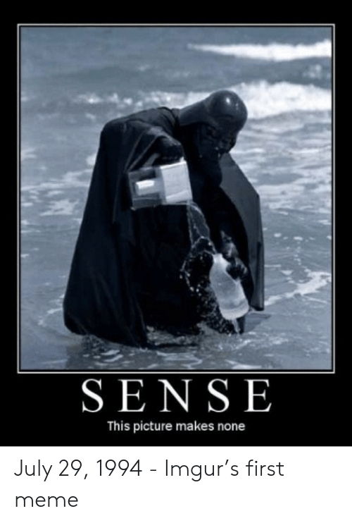 First Meme: SENSE  This picture makes none July 29, 1994 - Imgur's first meme