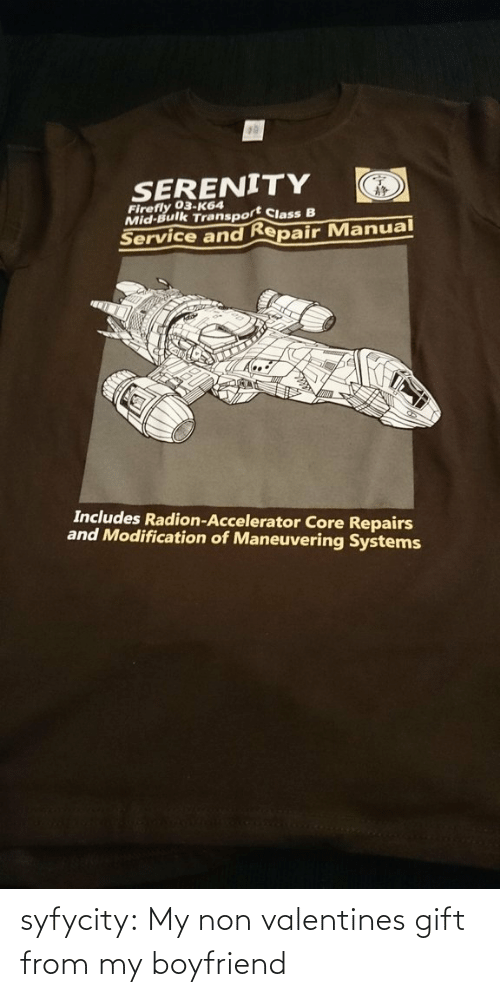 Modification: SERENITY  Firefly 03-K64  Mid-Bulk Transport Class B  Service and Repair Manual  Includes Radion-Accelerator Core Repairs  and Modification of Maneuvering Systems syfycity:  My non valentines gift from my boyfriend