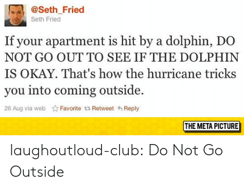 the hurricane: @Seth_Fried  Seth Fried  If your apartment is hit by a dolphin, DO  NOT GO OUTTO SEE IF THE DOLPHIN  IS OKAY. That's how the hurricane tricks  you into coming outside.  26 Aug via web Favorite t Retweet Reply  THE META PICTURE laughoutloud-club:  Do Not Go Outside
