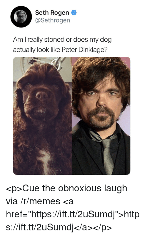 """Peter Dinklage: Seth Rogen  @Sethrogen  Am l really stoned or does my dog  actually look like Peter Dinklage? <p>Cue the obnoxious laugh via /r/memes <a href=""""https://ift.tt/2uSumdj"""">https://ift.tt/2uSumdj</a></p>"""
