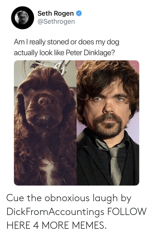 Peter Dinklage: Seth Rogen  @Sethrogen  Am l really stoned or does my dog  actually look like Peter Dinklage? Cue the obnoxious laugh by DickFromAccountings FOLLOW HERE 4 MORE MEMES.