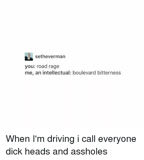 boulevard: setheverman  you: road rage  me, an intellectual: boulevard bitterness When I'm driving i call everyone dick heads and assholes