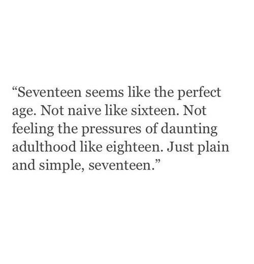"""Sixteen: Seventeen seems like the perfect  age. Not naive like sixteen. Not  feeling the pressures of daunting  adulthood like eighteen. Just plain  and simple, seventeen.""""  05"""