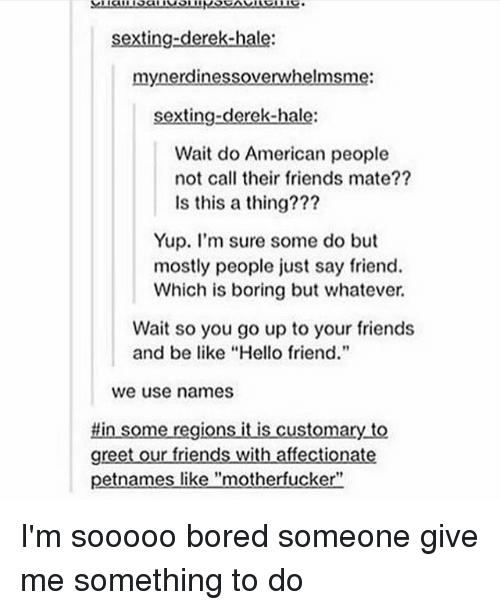 "Boredness: sexting-derek-hale:  mynerdinessoverwhelmsme:  sexting-derek-hale:  Wait do American people  not call their friends mate??  Is this a thing???  Yup. I'm sure some do but  mostly people just say friend.  Which is boring but whatever.  Wait so you go up to your friends  and be like ""Hello friend.""  we use names  #in some regions it is customary to  greet our friends with affectionate  petnames like ""motherfucker"" I'm sooooo bored someone give me something to do"